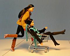 Twins having fun! (Deejay Bafaroy) Tags: barbie madetomove mtm mattel doll dolls puppe puppen asian girl twins zwillinge shopping cart trolley caddy buggy bascart carriage einkaufswagen 16 scale playscale miniature miniatur