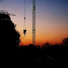 working (Darek Drapala) Tags: work working warsaw warszawa sky skyskape industrial color evening sun sunset panasonic poland polska panasonicg5 dark silhouette