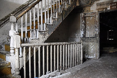 staircase (bobsnikond200) Tags: stairs staircase stairwell railing paint chipping pealing flaking flake peal chip abandoned handrail indoor