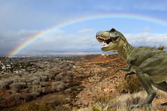 I swear, these things will just walk right out in front of you. (twm1340) Tags: dinosaur trex az arizona verdevalley rainbow possiblyphotoshopped explore explore130