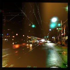Movie Night (Blinking Charlie) Tags: broadway capitolhill night street wetpavement firsthillstreetcar tram inekontrio iphonese 2017 seattle washingtonstate usa blinkingcharlie hipstamatic331