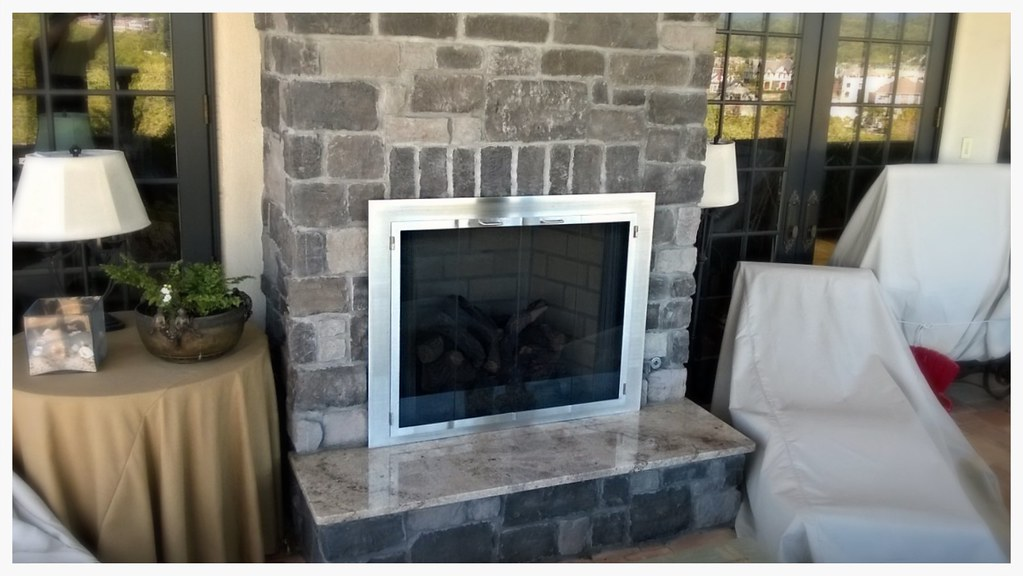 Design Specialties Custom Outdoor Fireplace Glass Doors, Chattanooga, Tn.