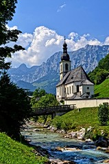 The Bavarian Alps in Ramsau (Tobi_2008) Tags: sky mountains alps church clouds germany bayern deutschland bavaria kirche himmel wolken berge bach ciel alpen allemagne glise germania ramsau diamondclassphotographer platinumheartaward