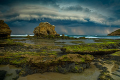 Bridgewater Bay Storm (Bjorn Baklien) Tags: ocean seascape storm seaweed green clouds landscape flow rocks waves australia lightning thunder blairgowrie rockpool keyholerock pentax645z