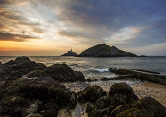Mumbles Sunrise (RDHicks86) Tags: ocean sea sky sun lighthouse seascape beach beautiful sunrise landscape coast pier seaside marine colorful aqua waves sunny coastal colourful coastalpath