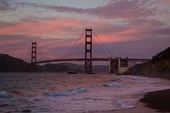 Gate, red & purple (aerojad) Tags: sanfrancisco bridge sunset vacation beach clouds bay waves pacificocean goldengatebridge goldengate southbay westcoast bakerbeach bestcoast