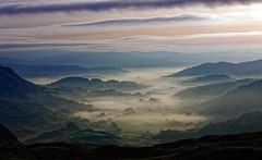 Mists Under a Pastel Sky (Dave Massey Photography) Tags: morning mist mountains clouds landscape dawn lakedistrict cumbria mists wrynosepass littlelangdale ef70200mmf28lisiiusm