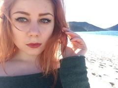 (black.ginger) Tags: red portrait beach face contrast hair eyes heaven hand sydney makeup australia lips redhead hills nails redlipstick redhair eyeliner