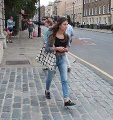 London Girl (Waterford_Man) Tags: street summer people hot sexy london girl path candid bare midriff