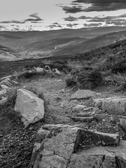 from Schiehallion (black 'n white) (grahamrobb888) Tags: scotland blackwhite highlands rocks perthshire pathway iphone4s