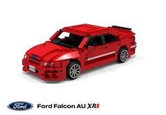 Ford Falcon AU XR8 (1997) (lego911) Tags: auto ford car sedan design model lego render au wheels competition falcon 1997 saloon challenge v8 1990s xr 97 cad lugnuts povray diecast moc ldd miniland xr8 foitsop lego911 ourfirstwheels
