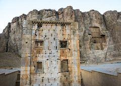 the tower knows as the ka'bah of zoroaster in naqsh-e rustam necropolis, Fars Province, Shiraz, Iran (Eric Lafforgue) Tags: sculpture cliff mountain building art heritage history tourism grave rock horizontal architecture outdoors temple photography persian site ancient day iran antique religion tomb middleeast culture craft persia nobody nopeople landmark historic unescoworldheritagesite relief cube shiraz orient archaeological archeology necropolis perseus antiquity zoroastrianism achaemenid kabah darius zoroastrian rockcut traveldestinations persiangulfstates royaltombs  oldruin  17147 colourimage  iro thepleiades iranianculture naqsherustam  naqsherostam farsprovince westernasia