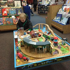 "Paul Playing with the Trains at Anderson's Bookshop • <a style=""font-size:0.8em;"" href=""http://www.flickr.com/photos/109120354@N07/23250211373/"" target=""_blank"">View on Flickr</a>"