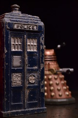 The Ravages of Time (mitchell_dawn) Tags: old antique police doctorwho worn weathered drwho dalek tardis policebox dinky meccano diecast dinkytoys macromondays policehut oldestobjectyoucanfind