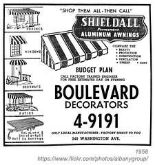 1958 boulevard decorators (albany group archive) Tags: albany ny yellow pages ad 1958 boulevard decorators aluminum awnings shielfall washington avenue oldalbany history