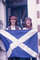 Bob & Chick Scotsman in England 1974 Gordon Villas 66 Winnock Road Colchester B&B (Photos by Alf Jefferies) Tags: scotish flag scotsmen bay city rollers lookalikes football world cup 1974 colchester bb gordon villas winnock road men victorian house tartan
