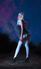 Galaxy Girl (riotarms) Tags: girl cute portrait photoshop train composite night flash incompletestrobistinfo removedfromstrobistpool seerule2