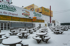 NO RESERVATION NEED (BUSTER NYC) Tags: coney island hot dogs snow tables brooklyn new york canon 70d cold storm nathans