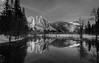 Yosemite Falls Reflection from Swinging Bridge (kristinfuller) Tags: yosemite yosemitevalley winter snow reflections yosemitefalls swingingbridge yosemitenationalpark blackandwhite bw blackandwhitephotography landscape nature landscapephotography