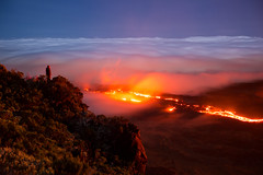 The flaming river (JulGlouton) Tags: volcan volcano volcanic lava river fire magma clouds smoke réunion reunionisland worldheritage shieldvolcano flow night nightscape
