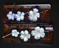 Hand Dyed Bobby Pin Set. Turquoise and Light Purple handmade tsumami zaiku kanzashi. (Bright Wish Kanzashi) Tags: kanzashi tsumamizaiku hanakanzashi handmade silk textile art japanesetechnique