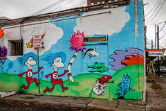 Dr. Suessish [EXPLORE 2017-01-05] (Facundity) Tags: sanantonio texas littlepatchgarden colorful mural muralism drsuess thingonethingtwo onefishtwofishredfishbluefish wall canoneos70d