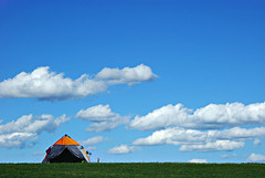 the best place for camping (arkhangai province - mongolia) (bloodybee) Tags: tent camping holyday arkhangai mongolia asia travel grass green blue sky clouds