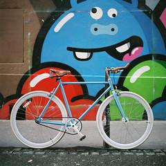 Sunday bike ride. (Hello i'm Wild !) Tags: analog film 6x6 square 120mm hasselblad501cm bike foffa fixie singlespeed streetart bokeh dof colors lyon