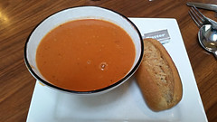 Tomato & Garlic Soup With Bread roll. (ManOfYorkshire) Tags: blaxton doncaster soup winter classic warmer warming bowl bread roll butter tomato garlic tomatogarlic £395 bistro cafe restaurant lunch luncheon snack