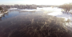 Frost, Mist, and Sun (hessamt) Tags: drone aerial phantom4 oronomaine bridge penobscot stillwaterriver universityofmaine frost frozen cold winter sun reflection mist fog ice island tresselbridge trestlebridge water