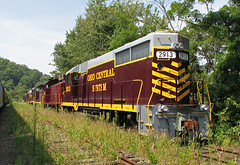 Deep in hiding (GLC 392) Tags: ohcr ohio central emd gp35 sw1200 gp10 2913 1203 922 7594 7585 morgan run oh railroad system railway train back lot hiding woods summer visit permission