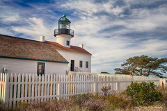 the old point loma lighthouse (Diane Trimble --- dianemariet) Tags: pointloma oldpointlomalighthousesandiego bluesky wispyclouds blueskiesandwispyclouds whitepicketfence fence picketfence southerncalifornia california oldlighthouses rlb