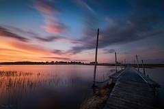 The Hardest way (Tony N.) Tags: longexposure blue sunset sea sky orange mer lagune france water clouds still eau europe lagoon bleu ciel nuage nuages crpuscule extrieur pontoon ponton calme coucherdesoleil manfrotto tranquille vende poselongue d810 tonyn lafautesurmer nikkor1635f4 tonynunkovics
