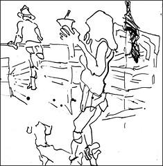 Woman With Small Dog (Kerry Niemann) Tags: arizona linedrawing hitchingpost apachejunction