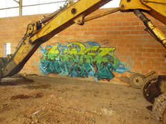 SeM#BackLoader (SeM #FeatherboY) Tags: blue brick green yellow wall painting graffiti paint tag spray peinture brique sem piece aerosol mur bombing bombe