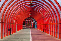 The SECC Footbridge (baddoguy) Tags: uk red horizontal architecture photography scotland footbridge glasgow nopeople transportation curve separation semicircle inarow halved 2015 colorimage scottishexhibitionandconferencecentre pedestrianwalkway undergroundwalkway