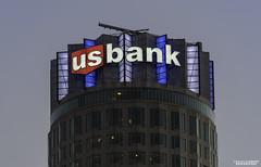 US Bank Sign Dodger Blue (STERLINGDAVISPHOTO) Tags: skyscraper losangeles signage highrise downtownla dtla usbanktower sterlingdavisphoto usbanksign ledusbanksign skyspacela dodgersplayofffs