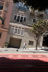Steep street (oyvind-nilsen) Tags: sf sanfrancisco california ca street usa walking gate unitedstates streetphotography september fujifilm streetphoto tilt steep 2015 bratt x100 xtrans x100t