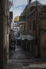 My favorite alley in old Jerusalem - Oqbat Al Khalidiya (M. Khatib) Tags: street sky clouds alley palestine jerusalem streetphotography domeoftherock alleyway dome oldcity oqbatalkhalidiya