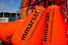 Inmarsat buoys (charlottehbest) Tags: ocean volvo sailing sweden yacht gothenburg sunny final vor roundtheworld goteborg inmarsat 2015 volvooceanrace