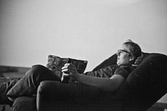 346/365 (local paparazzi (isthmusportrait.com)) Tags: blackandwhite bw white black blancoynegro blanco beer glass contrast person eos 50mm bottle blurry pod chair fuzzy f14 details lounge negro grain relaxing saturday pillow couch saturdaynight chilling human posture usm relaxation relaxed chill ef f25 ahh laidback 12800 50mmf14usm 365project canon5dmarkii localpaparazzi redskyrocketman lopaps isthmusportrait
