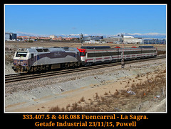 Combinacion terrible (Powell 333) Tags: madrid espaa train canon tren trenes eos spain rail railway trains cercanas 7d powell 407 333 railways 008 sagra cercanias getafe ferrocarril renfe fresa traslado 446 adif ffcc operadora 3334 trendelafresa dodotis 333407 renfeoperadora eos7d canoneos7d integria trenfresa getafeindustrial cedeti renfeintegria 446088