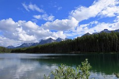 Canadian Rockies (Patricia Henschen) Tags: afternoon clouds cloudy boreal forest lake lac herbert banff banffnationalpark nationalpark parkscanada parks parcs mountains mountain rockymountains rockies rocky northern canadian canada canadianrockies reflection reflections water lakelouise alberta icefieldsparkway bowrange