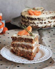 Carrot cake (olgakasanova) Tags: canon cake cream cook cooking color candy cookie cheese cinnamon cheesecake colors carrot coffee winter 50mm january white sweet sweety eating eat dessert delicacy brown bake baking picture plate photo party pecan pie