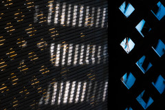 'In Three Parts' (Canadapt) Tags: light patterns trellice shadow backlight diamonds squares keefer canadapt blinds
