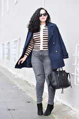Look Stylish all Winter with this Easy Pairing (GirlWithCurves) Tags: stripes girlwithcurves taneshaawasthigrayjeans curlyhair peacoat celinephantom