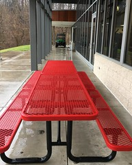 Park School ~ not a picnic day (karma (Karen)) Tags: parkschool pikesville maryland athleticcenter picnictable benches benchmonday hbm vibrant cmwd iphone windows walls hww