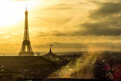 Soir d'hiver à Paris (Thierry Poupon) Tags: galerieslafayettes lumière paris soleil toureiffel ciel contrejour dorée grandpalais nuages vapeur iledefrance france fr golden backlight sky sun evening clouds fumes