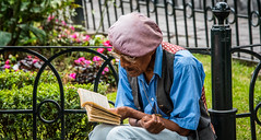 2016 - Mexico - Morelia - Park Reader (Ted's photos - For Me & You) Tags: 2016 cropped mexico michoacã¡n morelia moreliamichoacã¡n nikon nikond750 nikonfx tedmcgrath tedsphotos tedsphotosmexico tedsphotosmexicomorelia vignetting people park parkscene fencing ironfence michoacán moreliamichoacán reading reader glasses chain tam hat male man moustache book pages bookpages vest arches cap