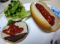 Hot Dog And Cheeseburger. (dccradio) Tags: lumberton nc northcarolina robesoncounty food eat meal supper meat ketchup catsup bread sandwich hotdog hotdogbun hotdogroll vegetable lettuce cheese swisscheese meltedcheese cheeseburger hamburger hamburg lunch dinner
